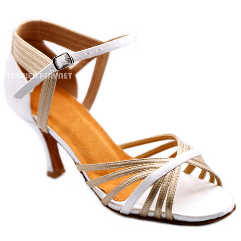 White & Champagne Gold Women Dance Shoes D1184