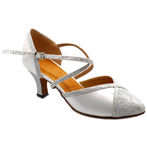 White & Silver Women Dance Shoes D1189