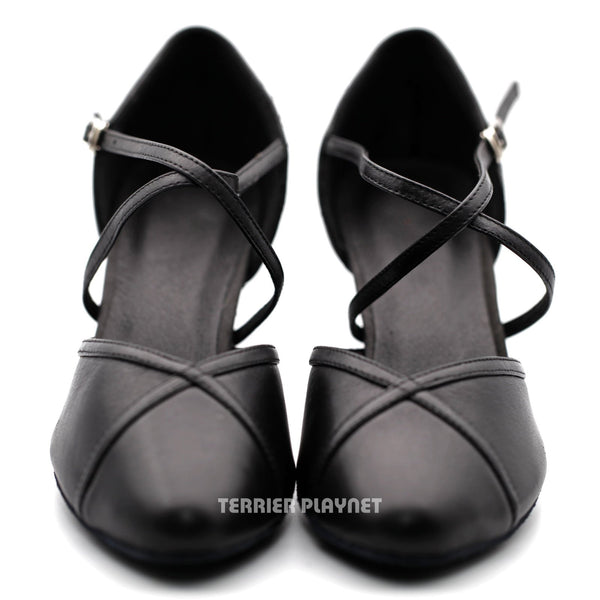 High Quality Black Leather Women Dance Shoes D1215