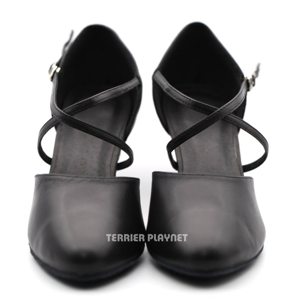 High Quality Black Leather Women Dance Shoes D1216