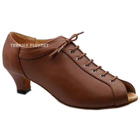 High Quality Brown Leather Women Dance Shoes D1217