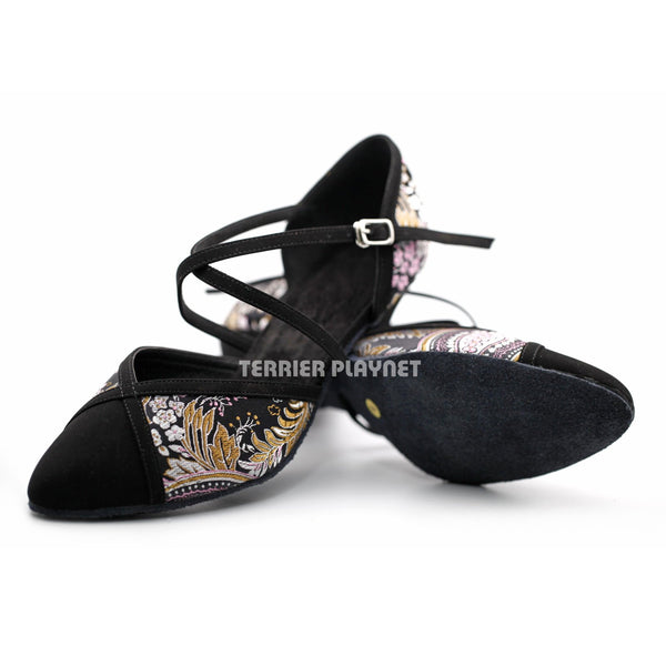 Black Embroidered Women Dance Shoes D1223 - Terrier Playnet Shop