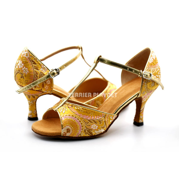 Golden Yellow Embroidered Women Dance Shoes D1225