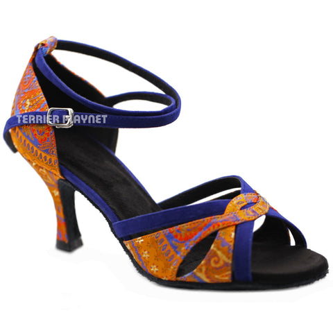 Blue & Orange Embroidered Women Dance Shoes D1226