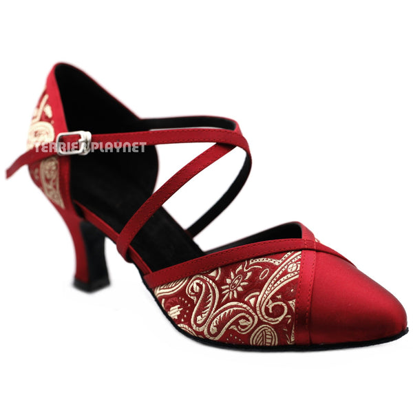 Champagne Gold & Deep Red Embroidered Women Dance Shoes D1233