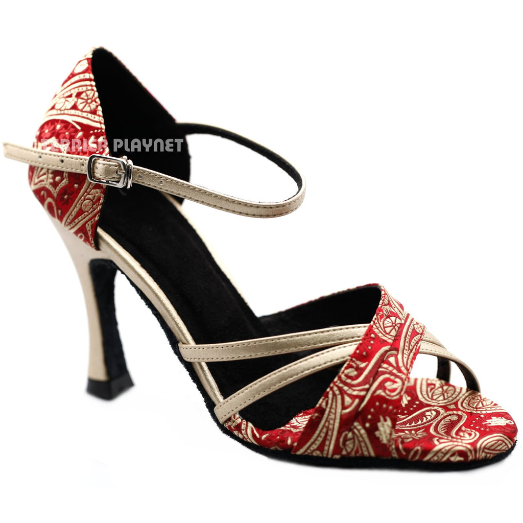 Champagne Gold & Deep Red Embroidered Women Dance Shoes D1234