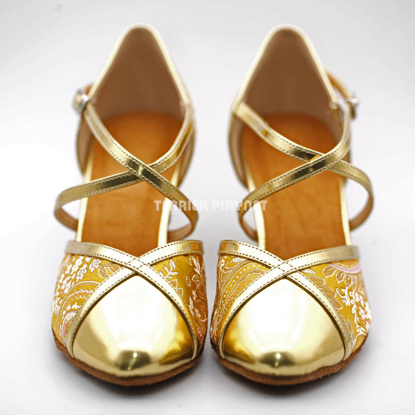 Golden Yellow Embroidered Women Dance Shoes D1236