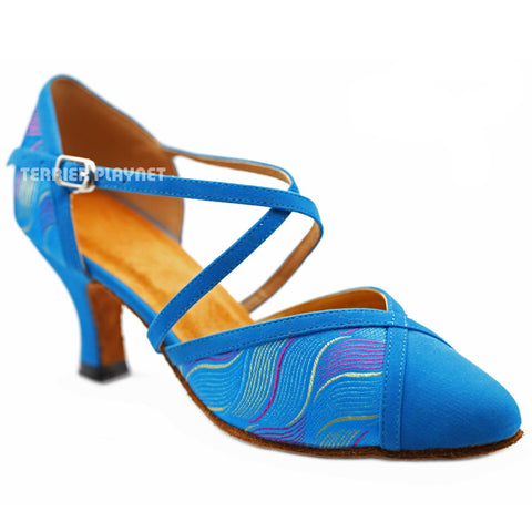 Light Blue Embroidered Women Dance Shoes D1237