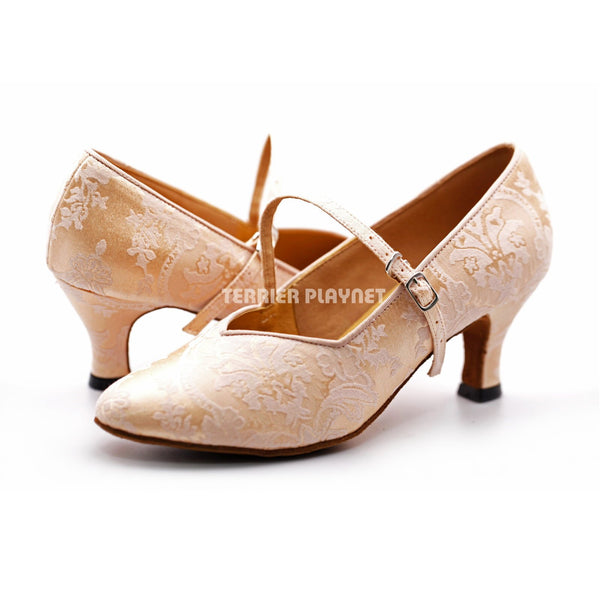 Flesh Flower Pattern Women Dance Shoes D1243
