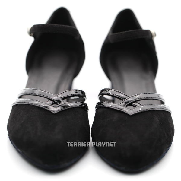 High Quality Black Leather Women Dance Shoes D1280