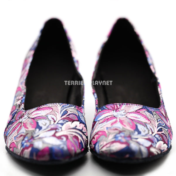 Blue & Purple Embroidered Women Dance Shoes D1284