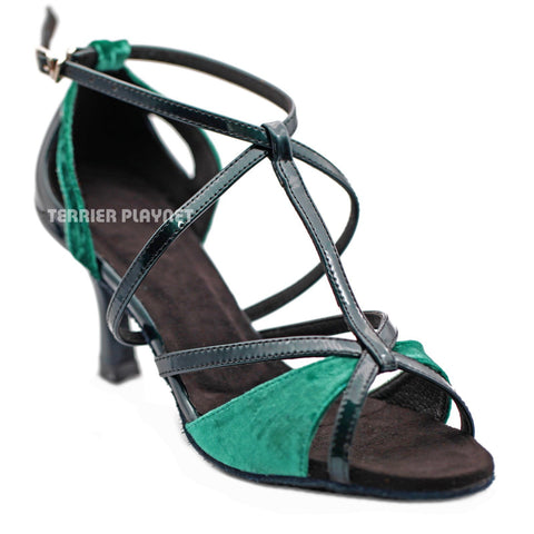 Green & Black Women Dance Shoes D1287