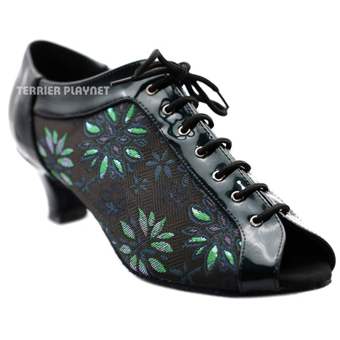 Black & Green Embroidered Women Dance Shoes D1291