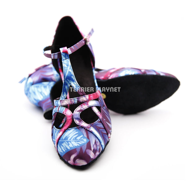 Purple & Blue Flower Pattern Women Dance Shoes D1303