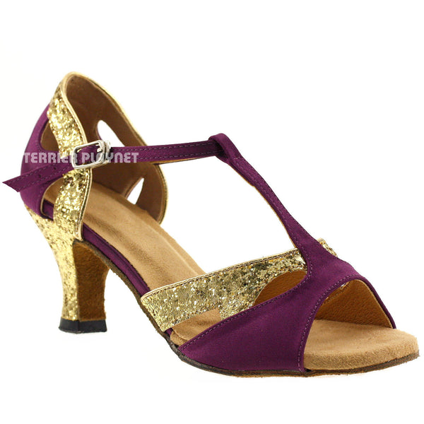 Purple & Gold Women Dance Shoes D131