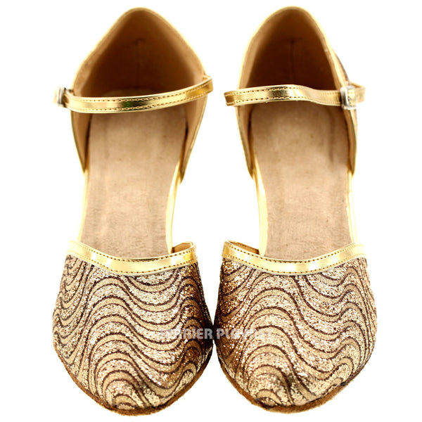 Gold Women Dance Shoes D162