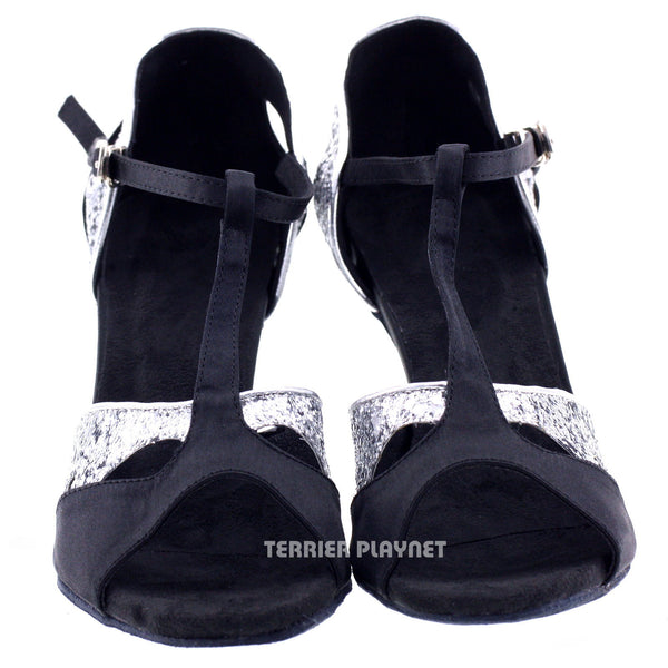 Black & Silver Women Dance Shoes D199