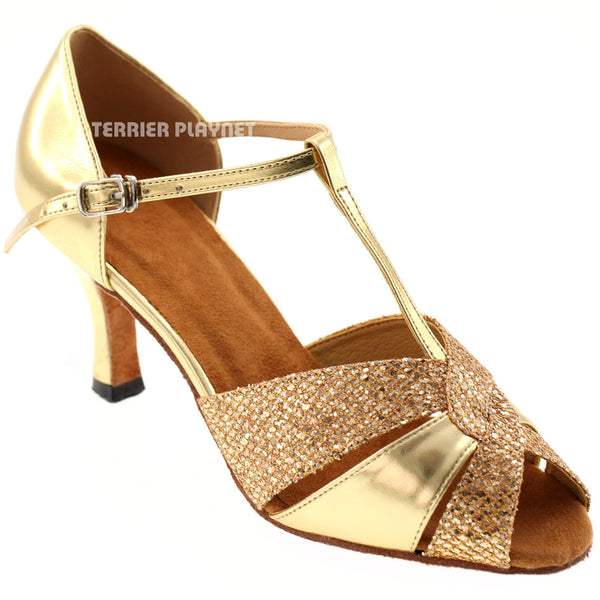 Gold Women Dance Shoes D234