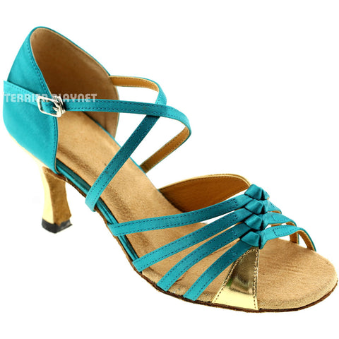 Turquoise & Gold Women Dance Shoes D242