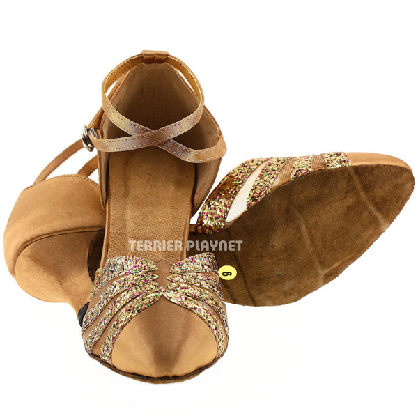 Gold Women Dance Shoes D257
