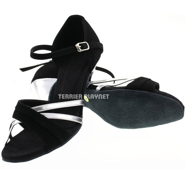 Black & Silver Women Dance Shoes D27
