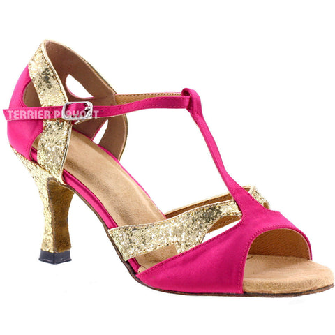 Hot Pink & Gold Women Dance Shoes D280