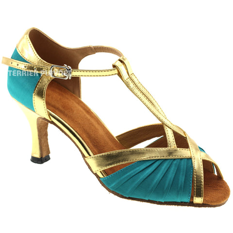 Turquoise & Gold Women Dance Shoes D295
