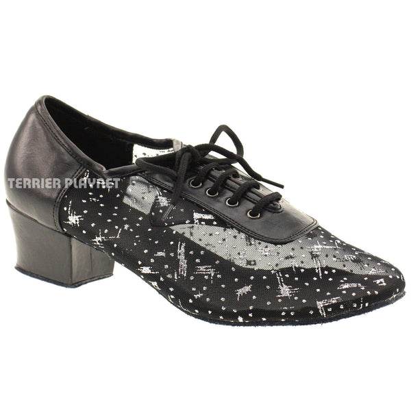 Black & Silver Women Dance Shoes D349