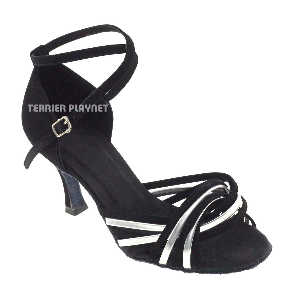 Black & Silver Women Dance Shoes D354