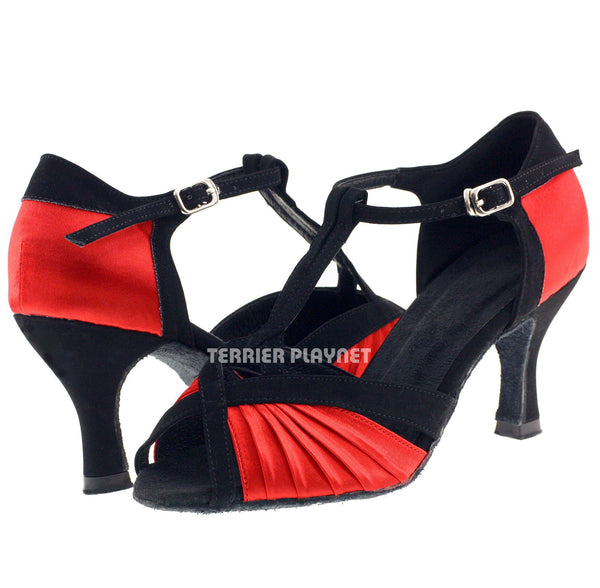 Black & Red Women Dance Shoes D368