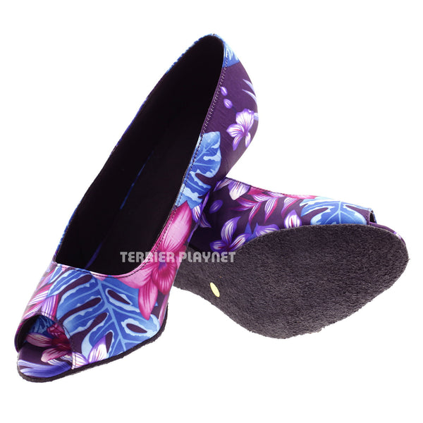 Purple & Blue Flower Pattern Women Dance Shoes D569