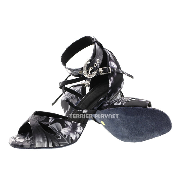 Black & Gray Flower Pattern Women Dance Shoes D572