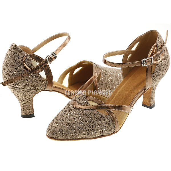 Bronze & Brown Women Dance Shoes D577