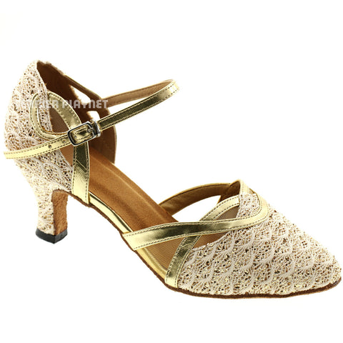 Gold & Beige Women Dance Shoes D578
