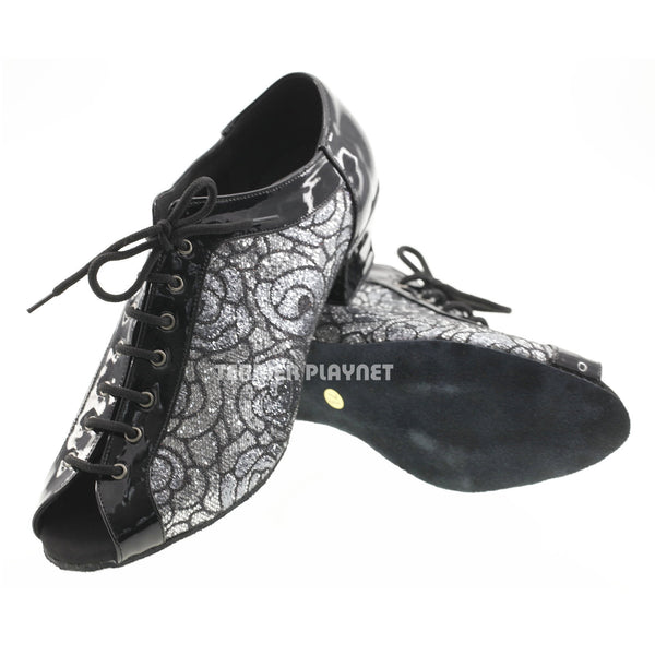 Black & Silver Women Dance Shoes D583