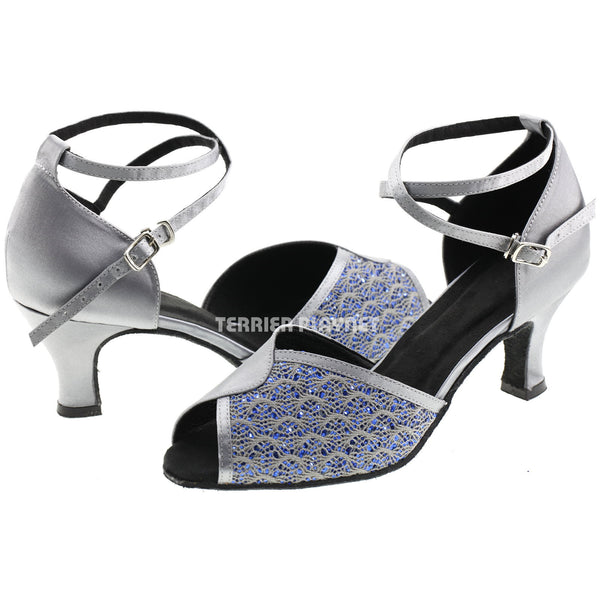 Silver Gray & Blue Women Dance Shoes D587