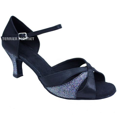 Black & Glitter Women Dance Shoes D653