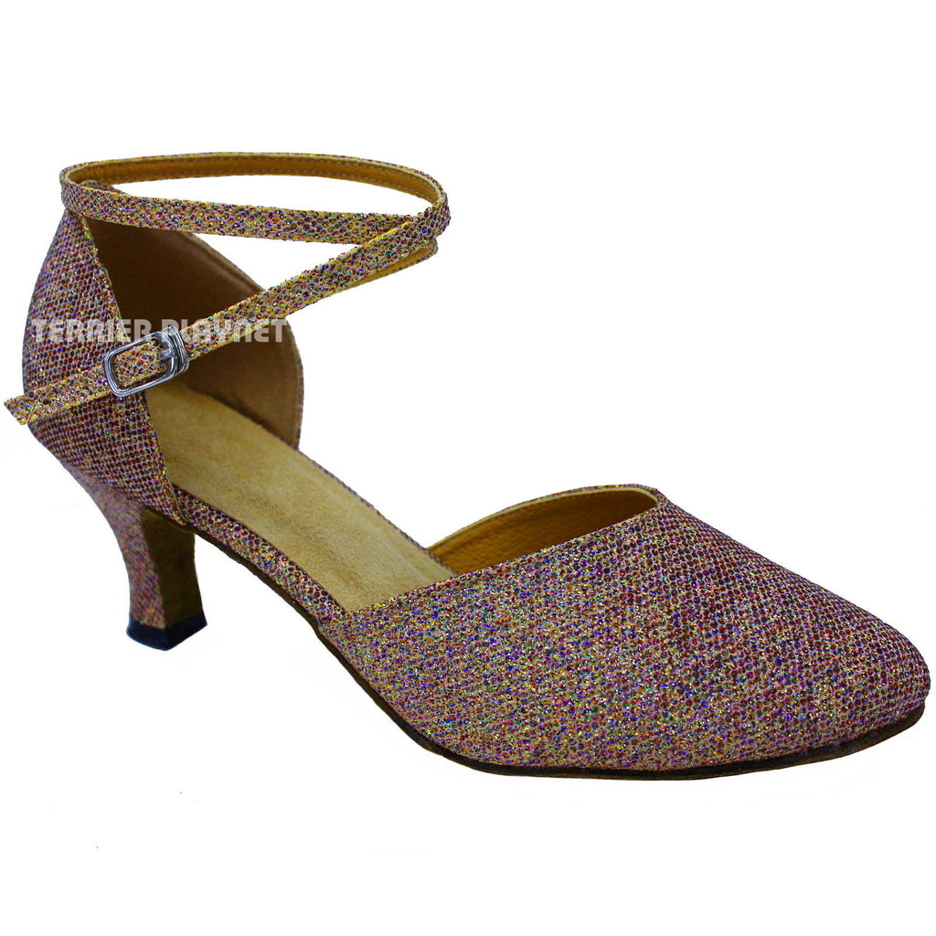 Gold & Multi-Color Women Dance Shoes D668