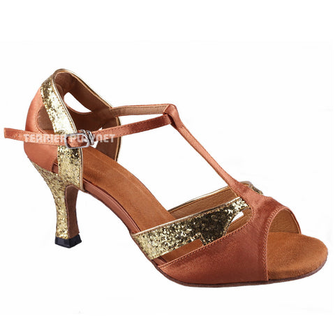 Tan & Gold Women Dance Shoes D699