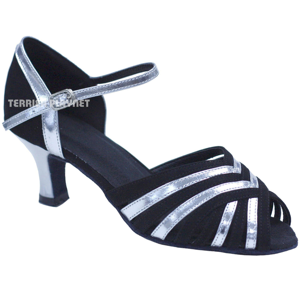Black & Silver Women Dance Shoes D739