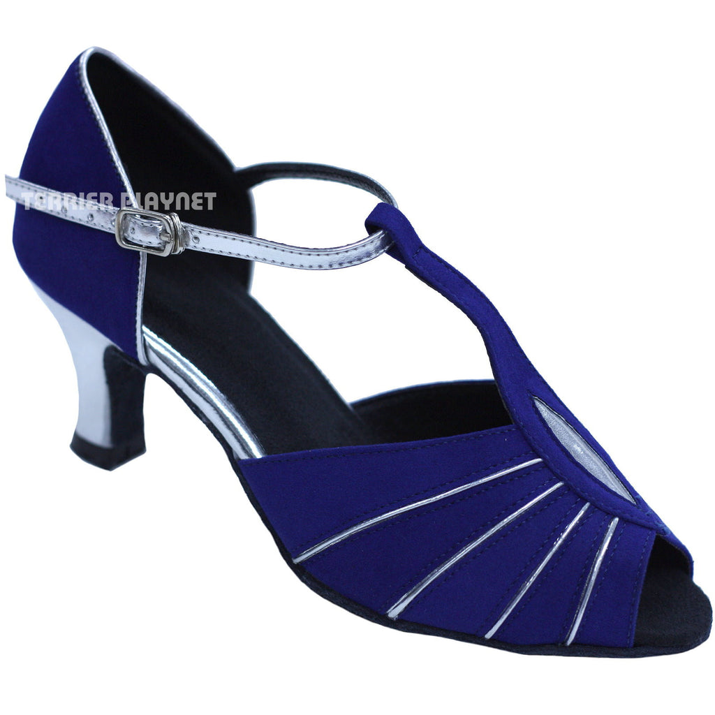 Blue & Silver Women Dance Shoes D740