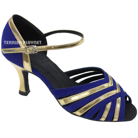 Blue & Gold Women Dance Shoes D778