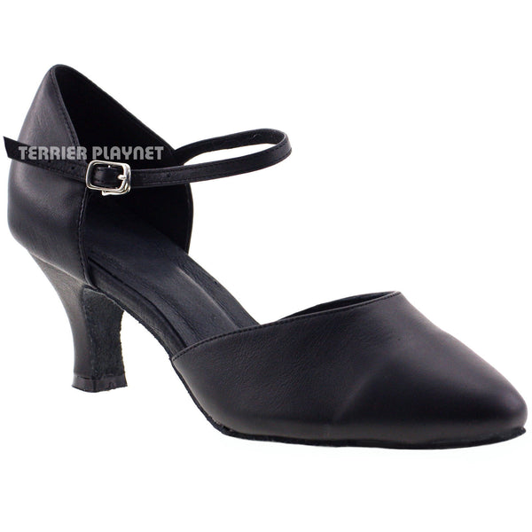 High Quality Black Leather Women Dance Shoes D789