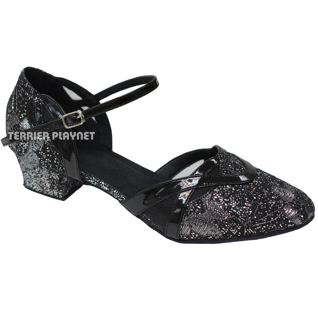 Black & Silver Women Dance Shoes D790