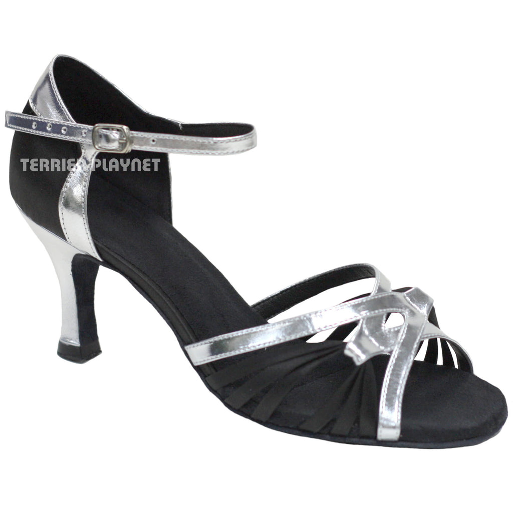 Black & Silver Women Dance Shoes D873