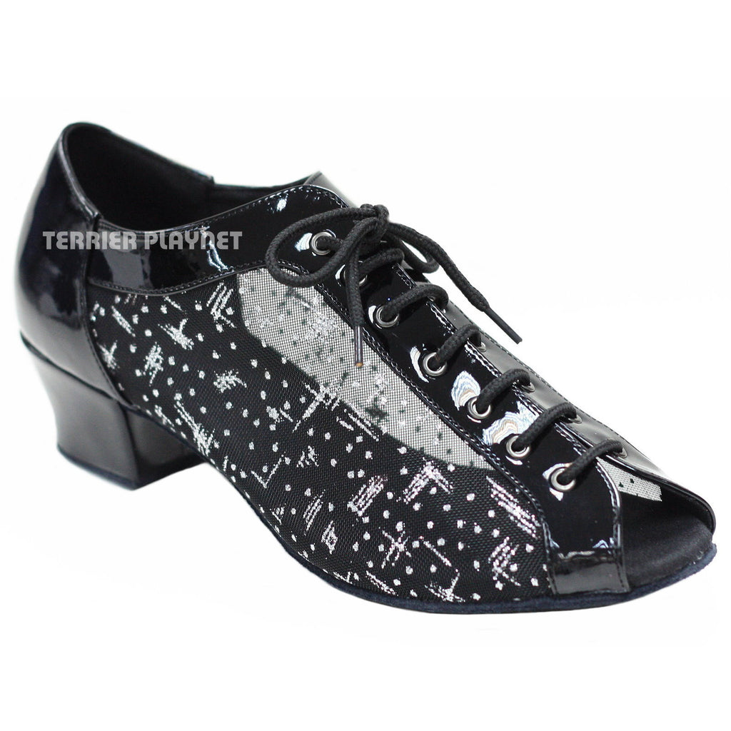Black & Silver Women Dance Shoes D894