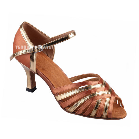 Tan & Gold Women Dance Shoes D902