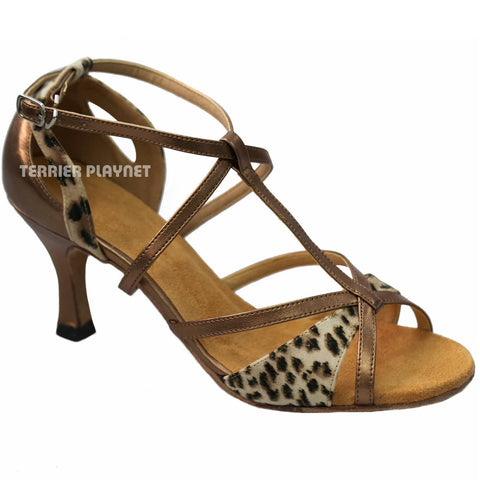 Bronze & Leopard Pattern Women Dance Shoes D926