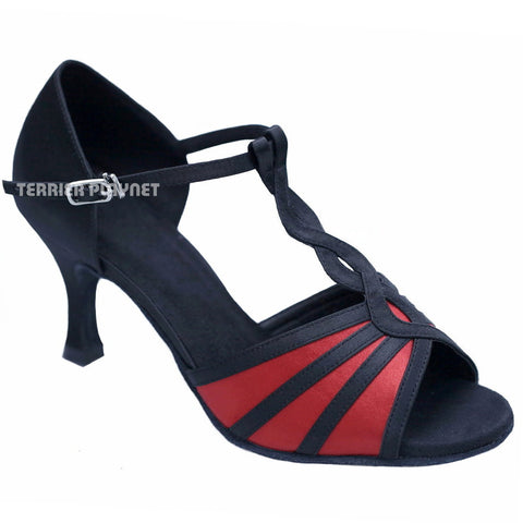 Black & Red Women Dance Shoes D935