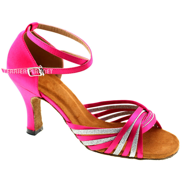 Hot Pink & Silver Women Dance Shoes D973